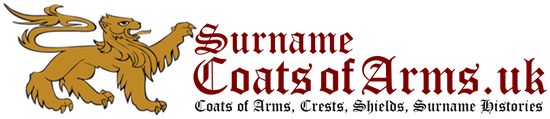 SurnameCoatsofArms.uk Logo: Surname coats of arms (or family crests) products printed on parchment paper or as a download.
