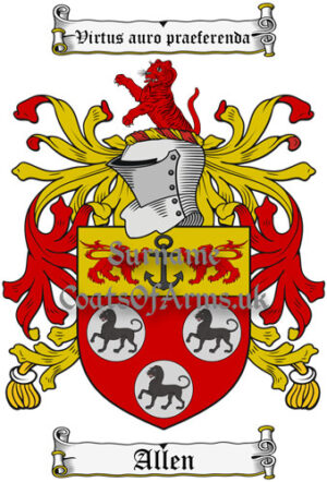 Allen (England & Ireland) Coat of Arms Family Crest PNG Instant Image Download