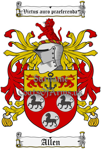 Allen (England & Ireland) Coat of Arms (Family Crest) Instant Download