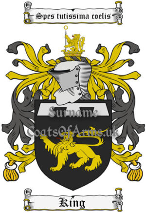 King (England) Coat of Arms Family Crest PNG Instant Image Download