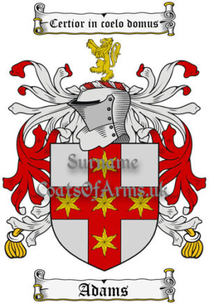 Adams (England) Coat of Arms Family Crest PNG Instant Image Download