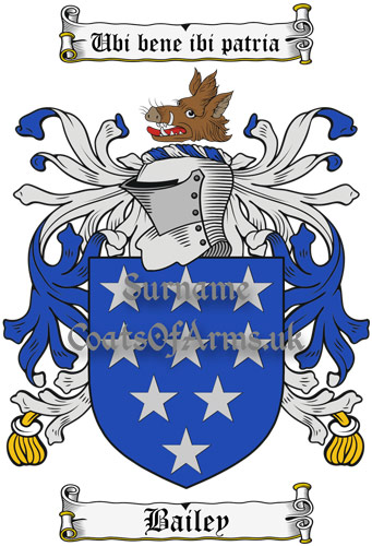 Bailey (England) Coat of Arms Family Crest PNG Instant Image Download