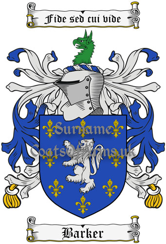 Barker (England) Coat of Arms Family Crest PNG Instant Image Download