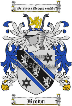 Brown (English) Coat of Arms Family Crest PNG Instant Image Download