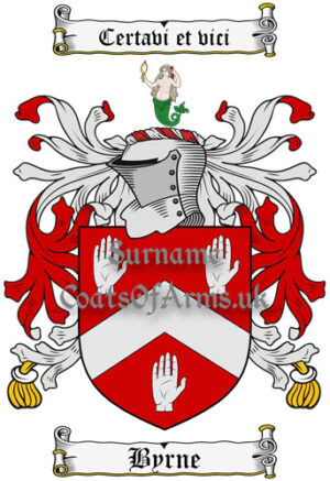 Byrne (Ireland) Coat of Arms Family Crest PNG Instant Image Download