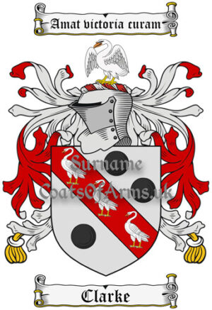 Clarke (England) Coat of Arms Family Crest PNG Instant Image Download