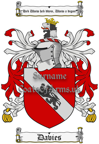Davies (Wales) Coat of Arms Family Crest PNG Instant Image Download