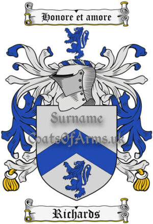 Richards (England) Coat of Arms Family Crest PNG Instant Image Download