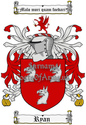 Ryan (Ireland) Coat of Arms Family Crest PNG Instant Image Download