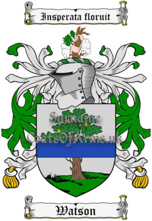 Watson (Scotland) Coat of Arms Family Crest PNG Instant Image Download
