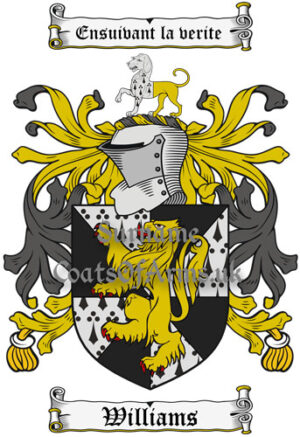 Williams (British) Coat of Arms Family Crest PNG Instant Image Download