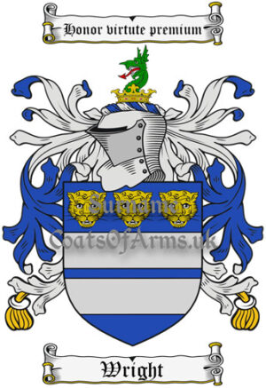 Wright (England) Coat of Arms Family Crest PNG Instant Image Download