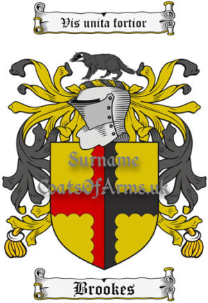 Brookes (England) Coat of Arms Family Crest PNG Image Instant Download