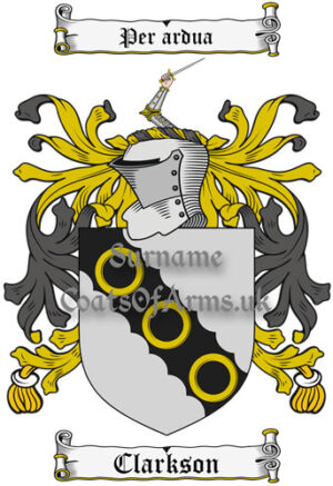 Clarkson (England) Coat of Arms Family Crest PNG Image Instant Download