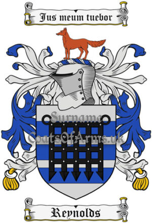 Reynolds (England) Coat of Arms Family Crest PNG Image Instant Download