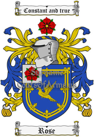 Rose (English) Coat of Arms Family Crest PNG Image Instant Download