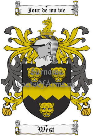 West (England) Coat of Arms Family Crest PNG Instant Image Download