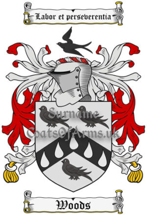 Woods (England) Coat of Arms Family Crest PNG Instant Image Download