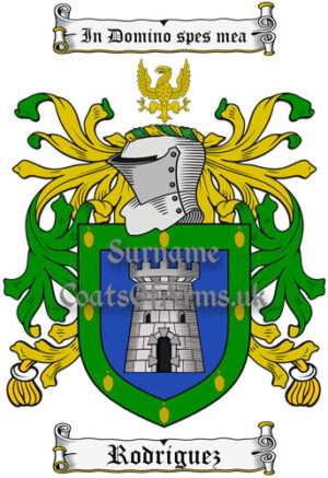 Rodriguez (Spanish) Coat of Arms Family Crest PNG Image Instant Download