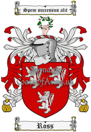 Ross (Scottish) Coat of Arms Family Crest PNG Image Instant Download