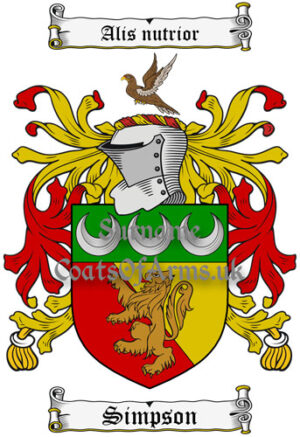 Simpson (Scottish) Coat of Arms Family Crest PNG Image Instant Download