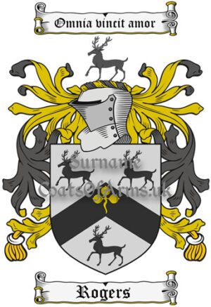 Rogers (England) Coat of Arms Family Crest PNG Image Instant Download