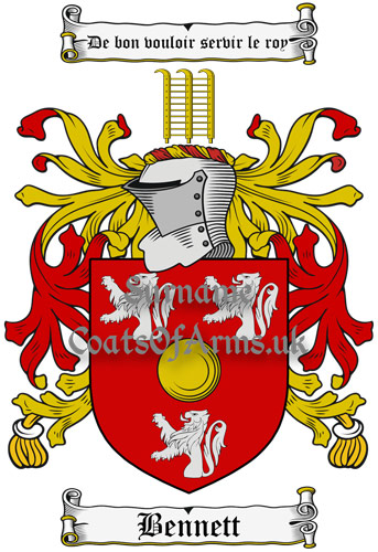 Bennett (English) Coat of Arms Family Crest PNG Image Instant Download