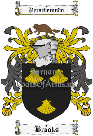 Brooks (Scotland) Coat of Arms Family Crest PNG Image Instant Download