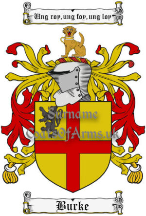 Burke (Ireland) Coat of Arms Family Crest PNG Image Instant Download