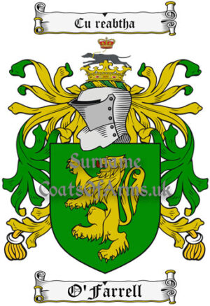 O'Farrell (Ireland) Coat of Arms Family Crest PNG Image Instant Download