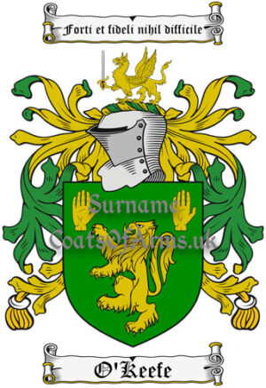 O'Keefe (Ireland) Coat of Arms Family Crest PNG Image Instant Download