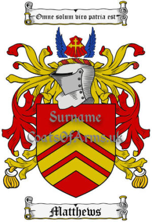 Matthews (Wales) Coat of Arms Family Crest PNG Image Instant Download